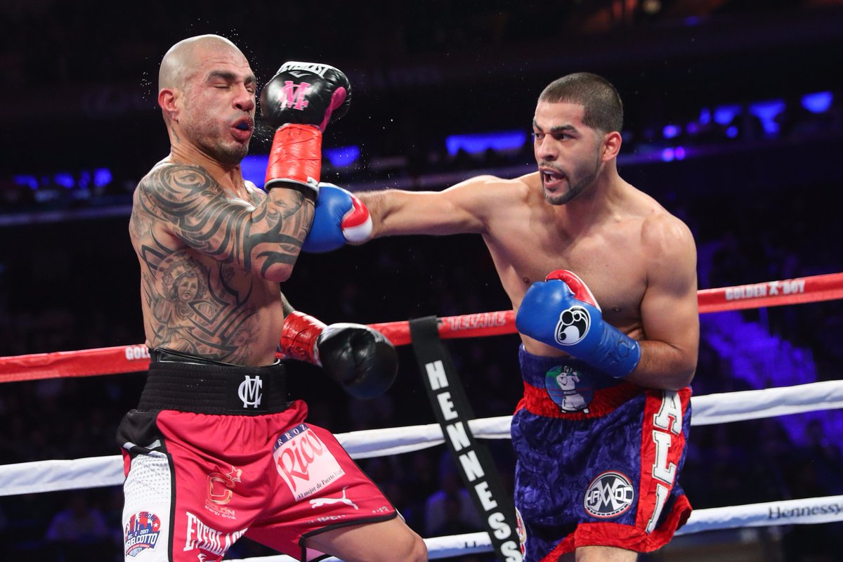 Sadam Ali (right) knew he had to fight hard in the final rounds to win a decision over Miguel Cotto. Photo: Ed Mulholland, HBO Boxing