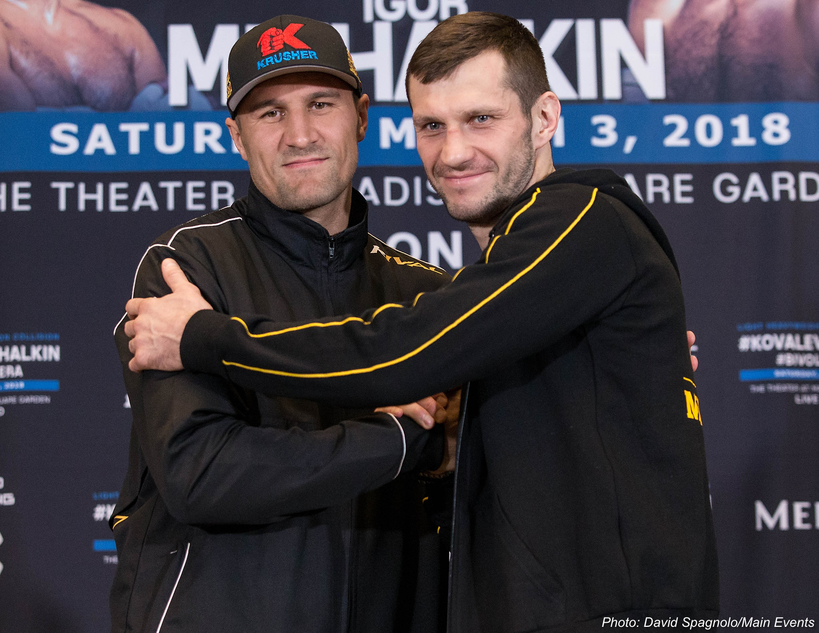 Light heavyweight fighters Sergey Kovalev (left) and Igor Mikhalkin aren't strangers. They have known each other since their amateur days as Russian teenagers. Photo: David Spagnolo/Main Events