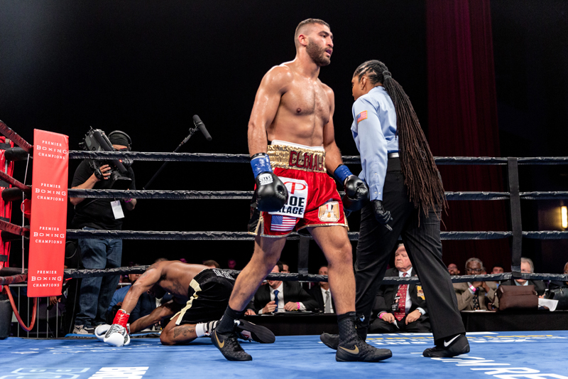 Ahmed Elbiali was far too powerful for Allen Green. Photo: Ryan Hafey, Premier Boxing Champions