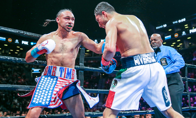 Keith Thurman weathered a strong effort by Josesito Lopez to retain his WBA welterweight title. Photo: Andy Samuelson, Premier Boxing Champions
