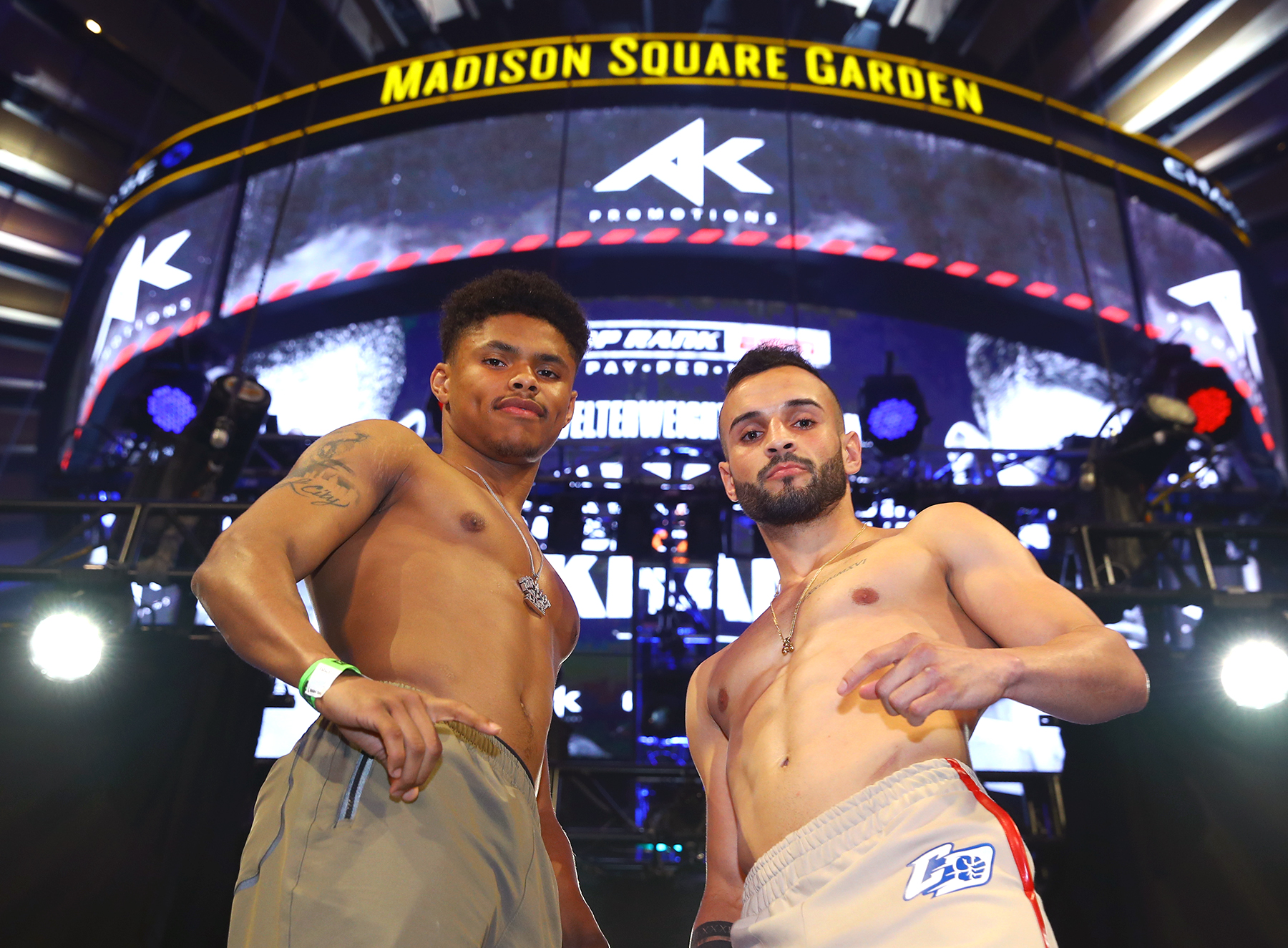 Shakur Stevenson (left) and Christopher Diaz will have plenty of hometown fans in the audience at Madison Square Garden. Photo: Mikey Williams, Top Rank Boxing