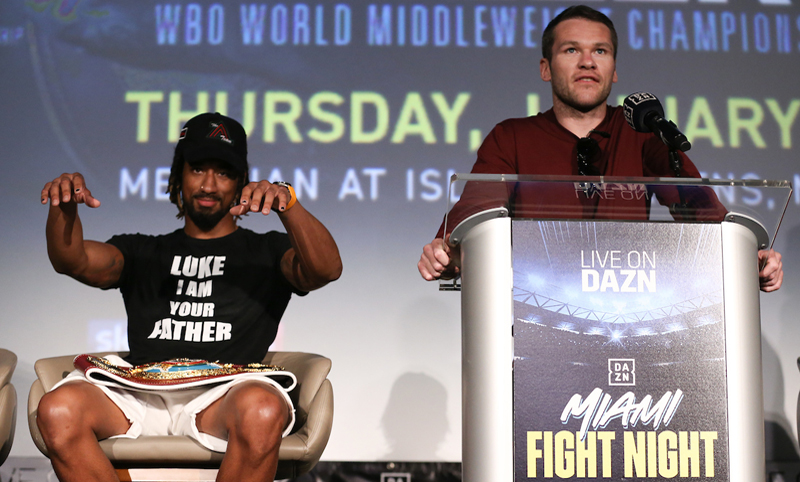 Luke Keeler speaks at the final news conference while Demetrius Andrade trolls him ahead of the Matchroom Boxing USA show at the Meridian at Island Gardens in Miami. Photo: Ed Mulholland/Matchroom Boxing USA Farmer vs Diaz Jr