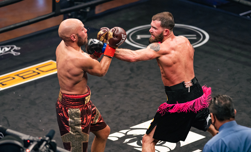 Caleb Plant (right) pitched a shutout against Caleb Truax Saturday, but he'll need more game against Canelo Alvarez. Photo: Ryan Hafey, Premier Boxing Champions Caleb Plant scores